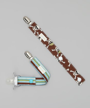 Blue Stripe & Brown Pirate Binky Keeper Set