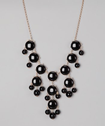 Black Bubble Long Necklace