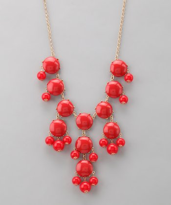 Red Bubble Long Necklace
