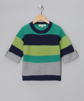 Lime & Navy Stripe Sweater