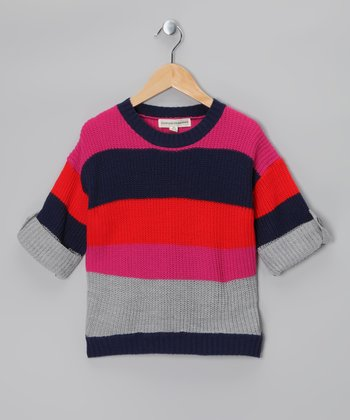 Fuchsia & Navy Stripe Sweater