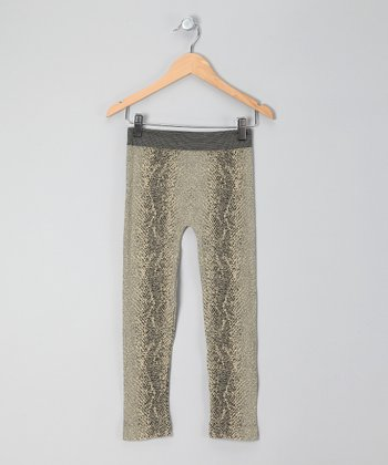 Honey Khaki & Black Snakeskin Print Leggings