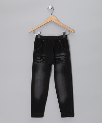 Black Wash Whisker Jeggings