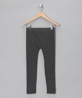 Charcoal Heather Thermal-Knit Leggings