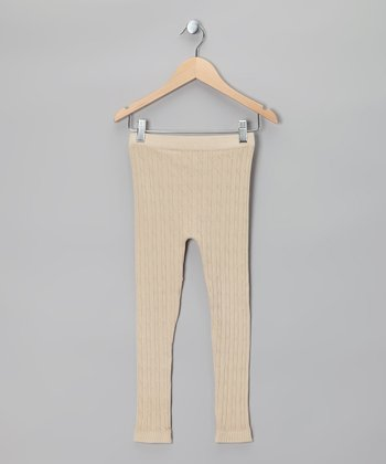 Vanilla Cream Cable-Knit Leggings