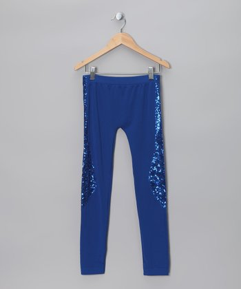 Blue Sequin Leggings - Girls