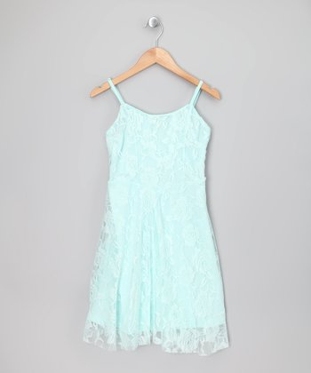 Bleached Aqua Floral Lace Dress