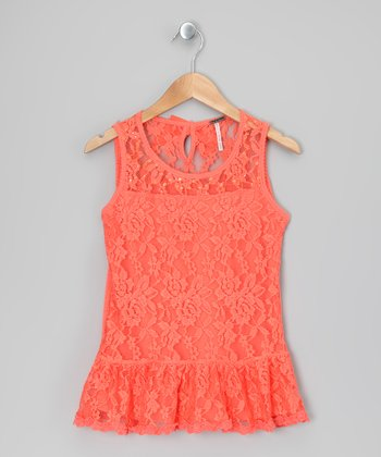 Coral Floral Lace Ruffle Dress