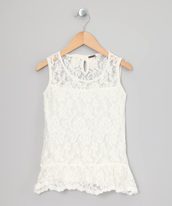 Eggwhite Floral Lace Ruffle Dress