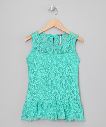 Aqua Floral Lace Ruffle Dress