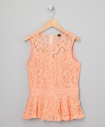 Peach Nector Lace Peplum Top