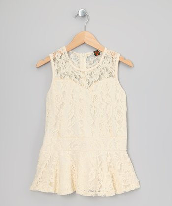 Vanilla Cream Lace Peplum Top