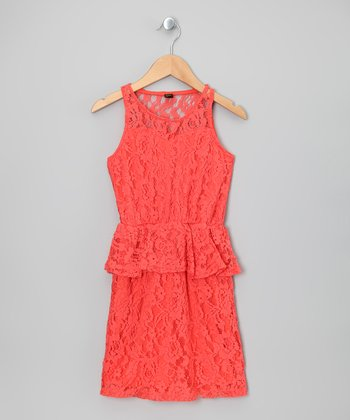 Coral Floral Lace Peplum Dress