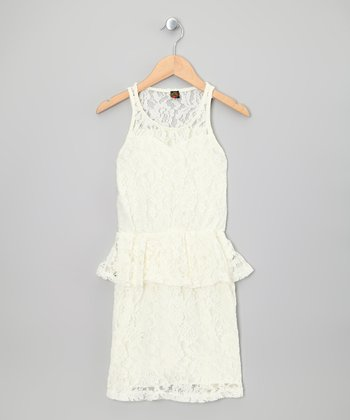 Ivory Floral Lace Peplum Dress