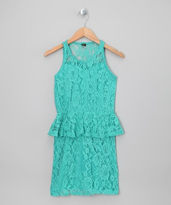 Soft Jade Floral Lace Peplum Dress