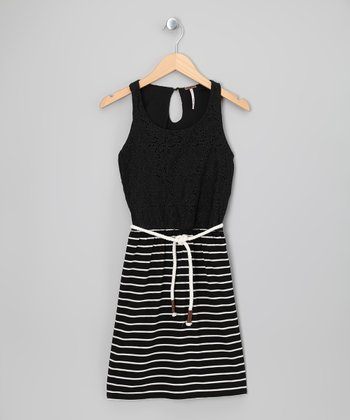 Black Lace Stripe Dress