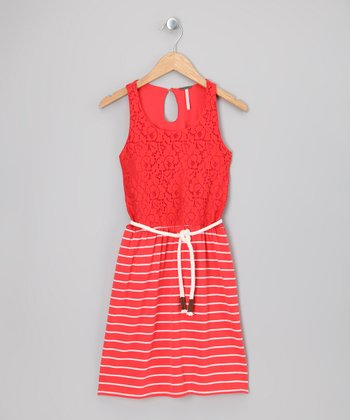 Orange Lace Stripe Dress