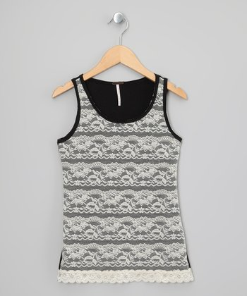 Black & White Lace Tank