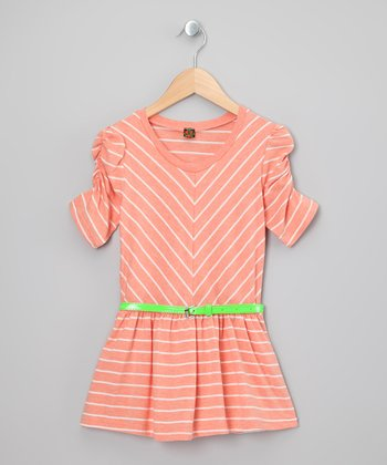 Peach & White Stripe Dress