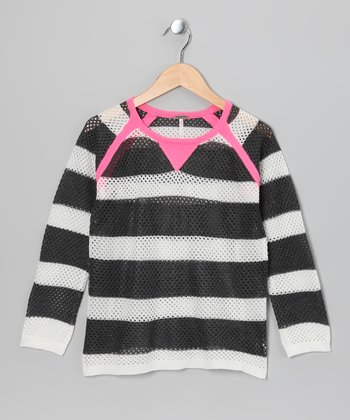 Pink & Charcoal Stripe Raglan Sweater