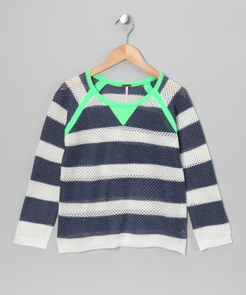 Neon Green & Denim Stripe Raglan Sweater