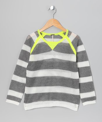 Neon Yellow & Gray Stripe Raglan Sweater