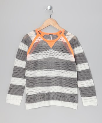 Orange & Gray Stripe Raglan Sweater