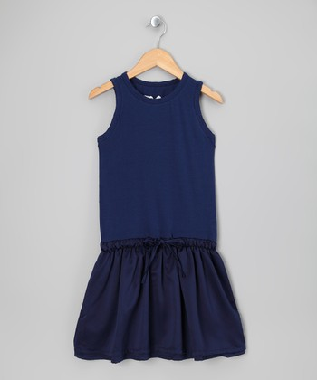 Ink Blue Drawstring Waist Dress