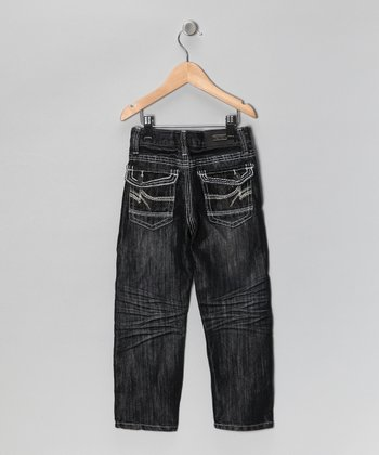 Black Zigzag Flap Pocket Jeans - Toddler & Boys