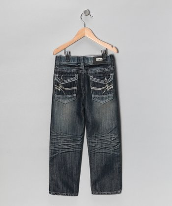 Blue Zigzag Flap Pocket Jeans - Toddler & Boys