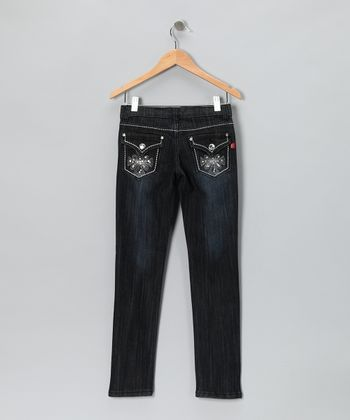 Black Dark Wash Flap-Pocket Skinny Jeans - Girls