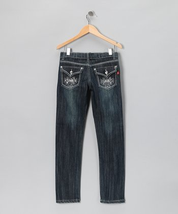 Dark Wash Flap-Pocket Skinny Jeans - Girls