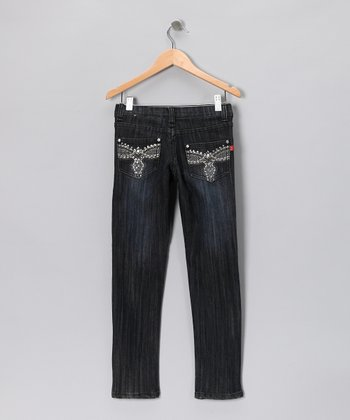 Black Dark Wash Crosshatch Skinny Jeans - Girls