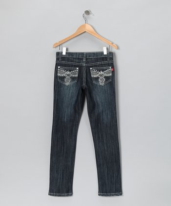 Dark Wash Crosshatch Skinny Jeans - Girls