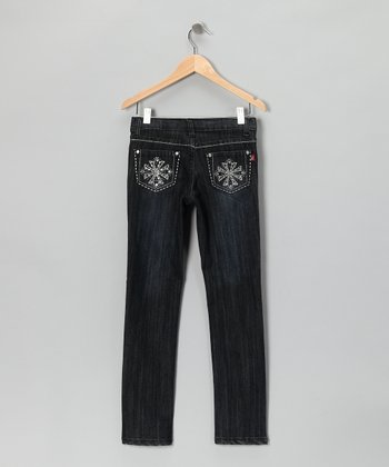 Black Dark Wash Clover Skinny Jeans - Girls