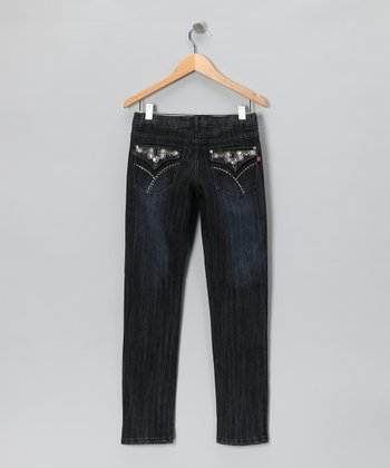 Black Dark Wash Rhinestone Button Skinny Jeans - Girls
