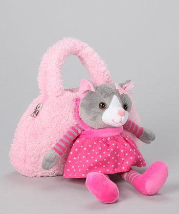 Pink & Gray Cat Purse & Plush Toy