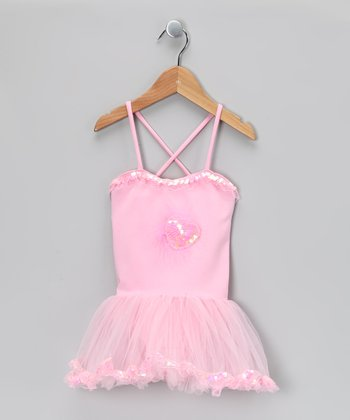 Pink Sparkle Heart Skirted Leotard - Girls