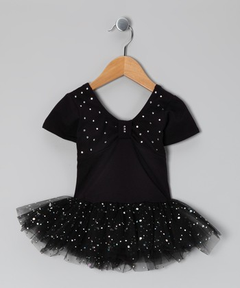 Black Sparkle Skirted Leotard - Toddler & Girls