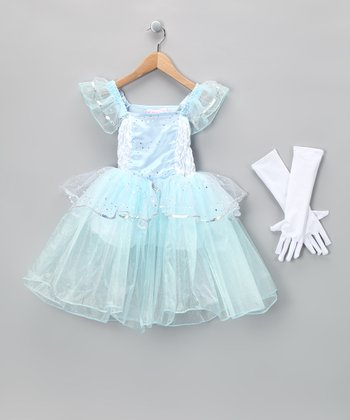 Blue Cinderella Dress & White Gloves - Girls