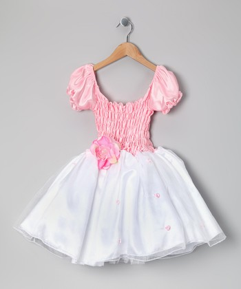 Pink Puff-Sleeve Dress - Girls