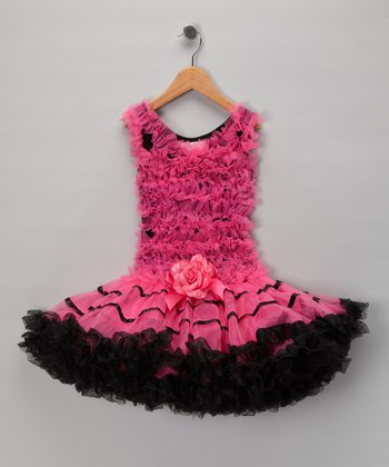 Pink & Black Ruffle Ruffle Dress - Toddler & Girls