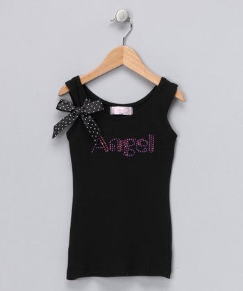 Black 'Angel' Tank - Girls