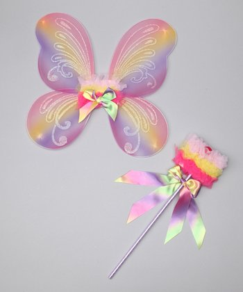 Rainbow Fairy Wings & Wand