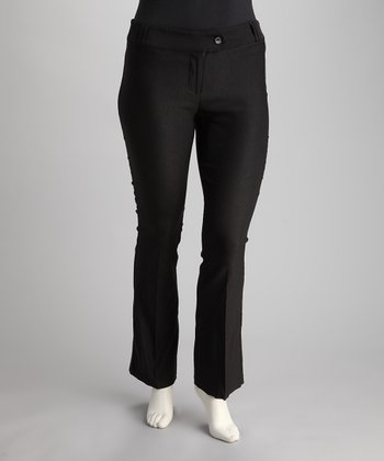 Black Tab-Front Bootcut Pants - Plus