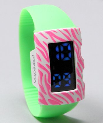 Green LED Watch & Zebra Cover