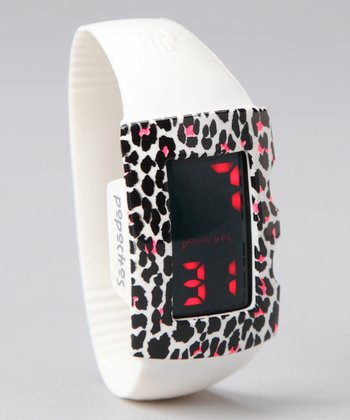 White LED Watch & Cheetah Cover