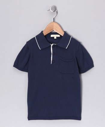 Blue & Cream Hector Pima Polo - Toddler & Kids