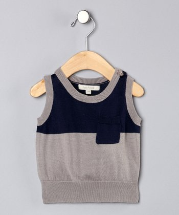 Poppy Rose Gray & Blue Sweater Vest -  Kids