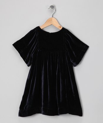 Midnight Blue Evelyn Silk A-Line Dress - Girls